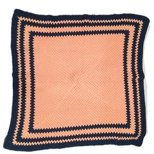 Vtg Handmade Crochet Knit Afghan Medium Blanket